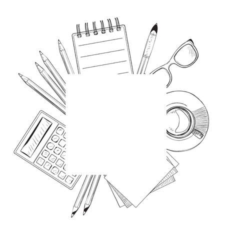 Set of hand drawn objects for business people. Notebooks sketch