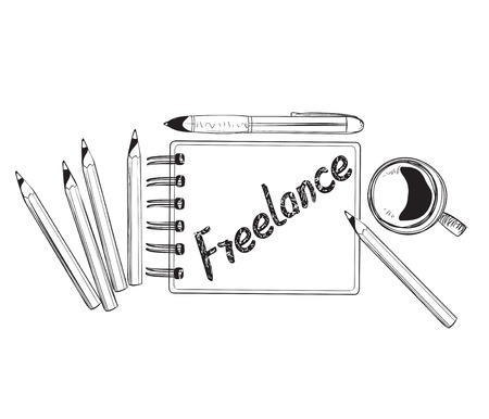 freelance: Business doodles icons. Concept of productive freelance ideas.