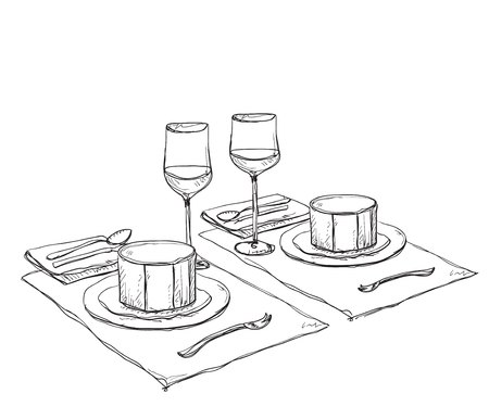 romantic dinner: Hand Drawn wares. Romantic dinner for two. Soup and wine. Illustration