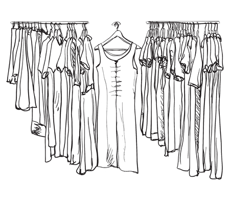 spring coat: Cute hand drawn illustration with fashionable clothes for women on hangers on white background.