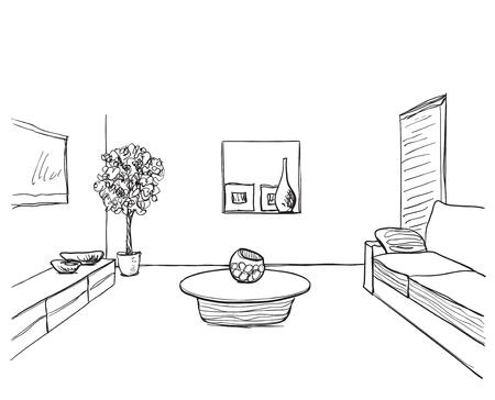 Tisch gezeichnet  Hand Gezeichnet Rauminnenraum Skizze. Tisch Und Blumentopf ...