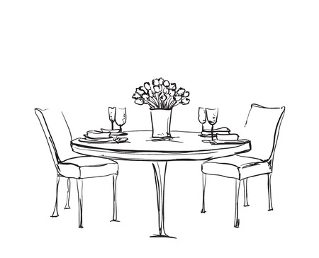 Hand Drawn wares. Romantic dinner for two. Wine and dishes Ilustrace