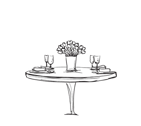 Hand Drawn wares. Romantic dinner for two. Wine and dishes Illustration