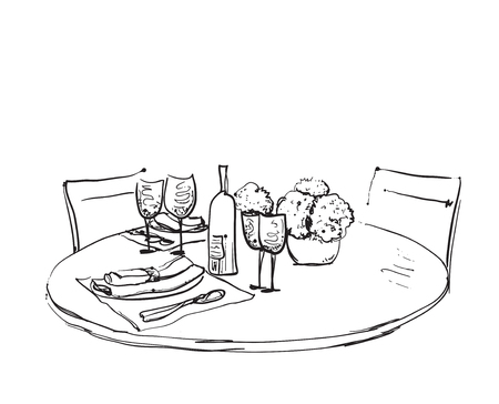 wares: Hand Drawn wares. Romantic dinner for two. Wine and dishes Illustration