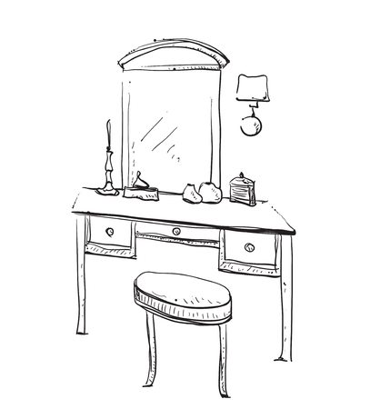 vanity: Hand drawn chair, table and mirror. Vanity table