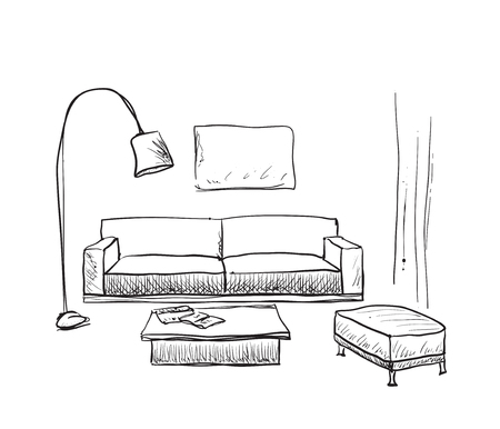 Mano habitación dibujado entre boceto. esbozo de muebles