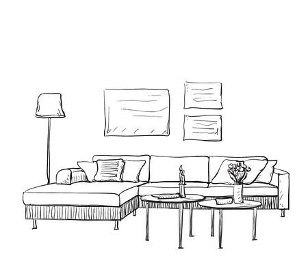 luxury condo: Hand drawn room interior sketch. Furniture sketch