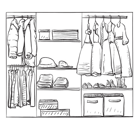 shoe box: Hand drawn wardrobe sketch. Room interior with clothes for girl. Illustration