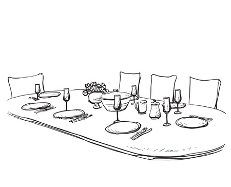 wares: Hand Drawn wares. Dinner family. Flowers and dishes