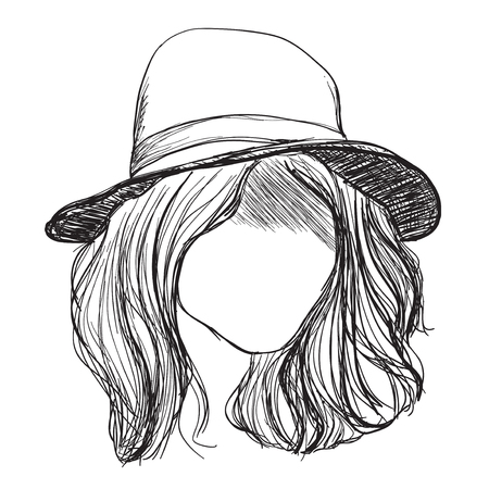 Hand drawn hair. Services in hair care. Girl in the hat Illustration