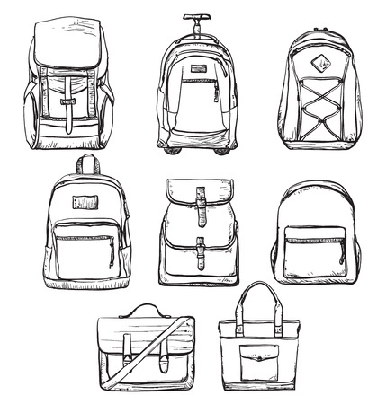 haversack: A set of different types of backpacks. Bag for travel