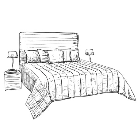 bedroom furniture: Bedroom modern interior sketch. Hand drawn furniture