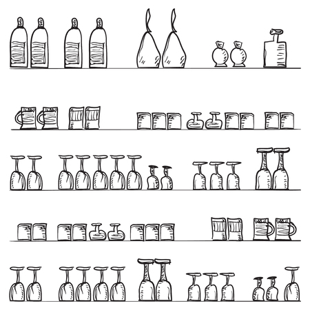 glass shelves: Kitchen shelves with objects, glasses. bottles, boxes, beer mug cocktail glass - pattern