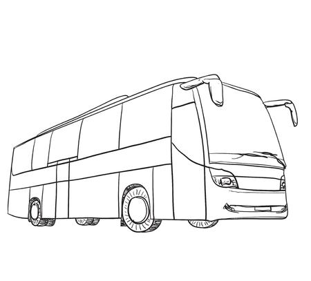 Dibujado a mano de transporte para viajar. esbozo de autobús