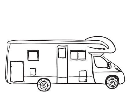 Hand Drawn Transport For Travel Bus Sketch Royalty Free Cliparts