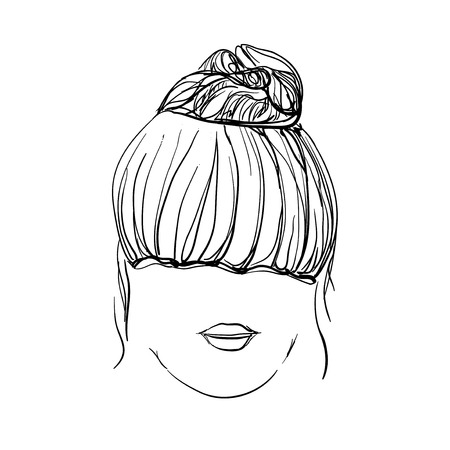 messy: Girl with messy bun. Hand drawn hairstyle