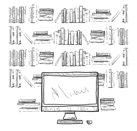 shelfs: Workplace with laptop, notebook, tablet and shelfs owith books. Hand drawn illustration Illustration
