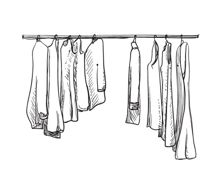 hanging woman: Hand drawn wardrobe sketch. Clothes on the hangers.