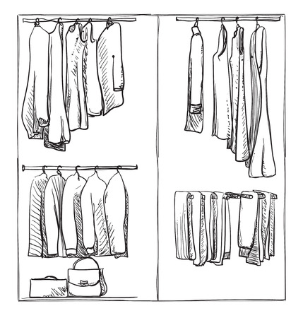 hanging woman: Hand drawn wardrobe sketch. Clothes of the hanger.