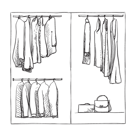 Wardrobe clipart black and white  Hand Drawn Wardrobe Sketch. Clothes Of The Hanger. Royalty Free ...
