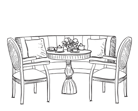 kitchen table clipart black and white. dinner table. hand drawn chair and sofa vector kitchen table clipart black white