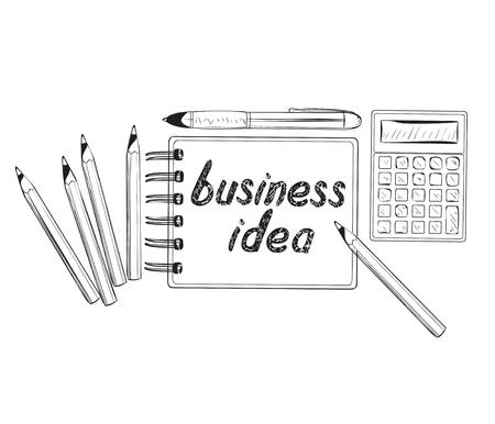 productive: Business doodles icons. Concept of productive business ideas.