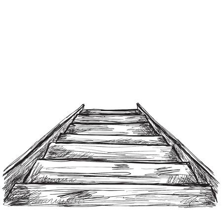 down the stairs: esbozo escaleras. Dibujado a mano por las escaleras. ilustración de negocio