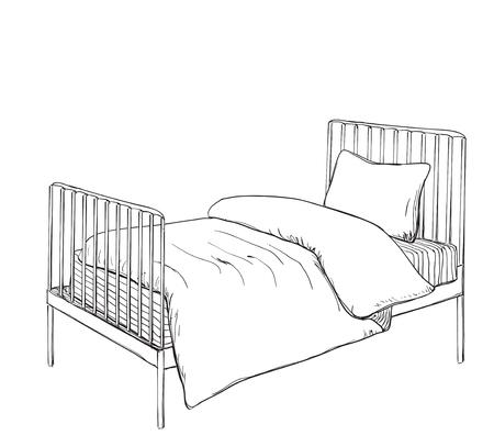 bunk bed: Kids bunk bed doodle style sketch illustration