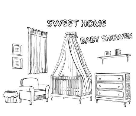 the children s: Vector set of hand drawn and isolated sketches of furniture for children s room. Illustration