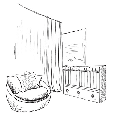 bed room: Hand drawn childrens room. Furniture sketch. Baby bed