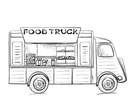 hand truck: Hand drawn food truck. Street food poster.