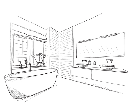 Hand drawn Bathroom with mirror, washbasin and other furniture. Vettoriali