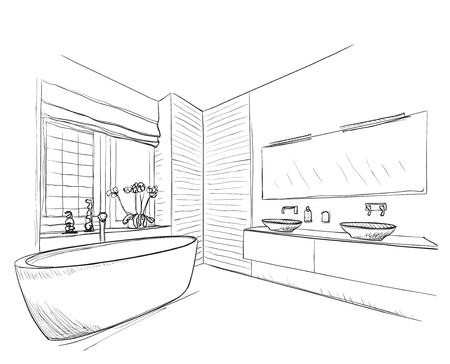 Ręcznie rysowane łazienka z lustrem, umywalką i innych mebli.