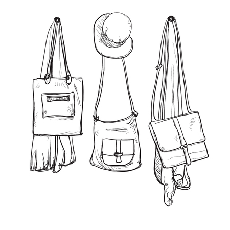 handbag model: Sketched wardrobe. Hand drawn clothes in the hall Illustration