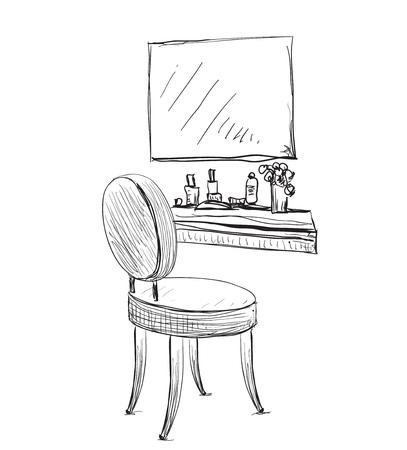 Bilden. Vanity Tisch und Klappstuhl Skizze. Vektorgrafik