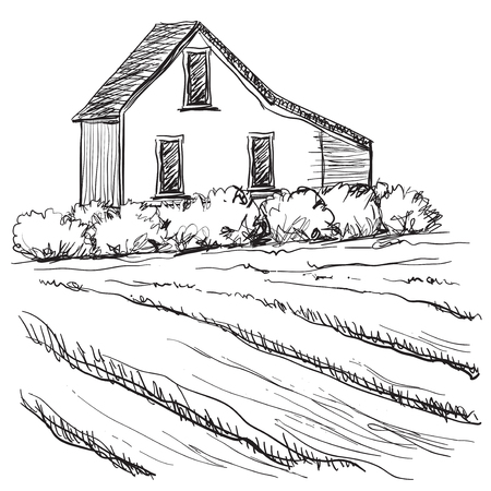 grain fields: Landscape with Fields and Villages. Hand drawn Vector Illustration Illustration