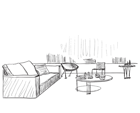 Modern interior room sketch. Hand drawn sofa and chair