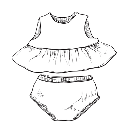 short dress: Baby clothes. Dress and short for little girl Illustration