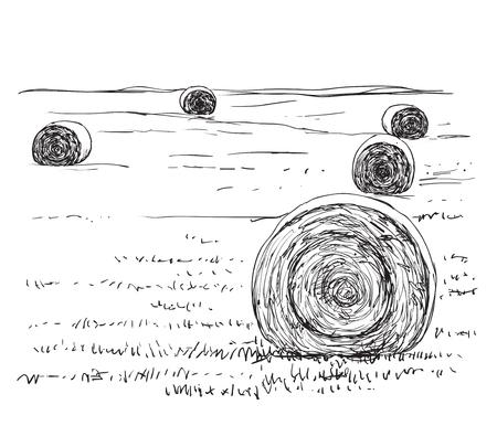 Countryside landscape sketch design silhouette. Hand drawn fields