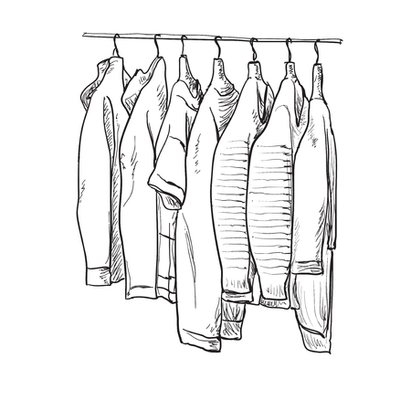 cold room: Hand drawn wardrobe sketch. Clothes on the hangers Illustration