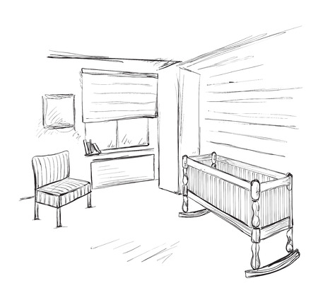 children room: Hand drawn children room. Furniture sketch. Baby bed Illustration