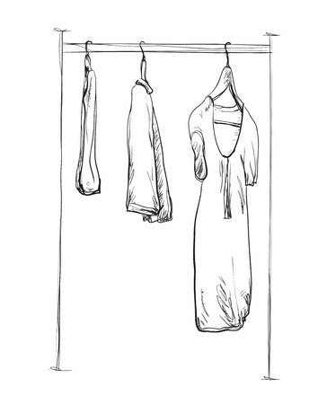 hangers: Clothes on hangers. Hand drawn sketch illustration isolated on white background