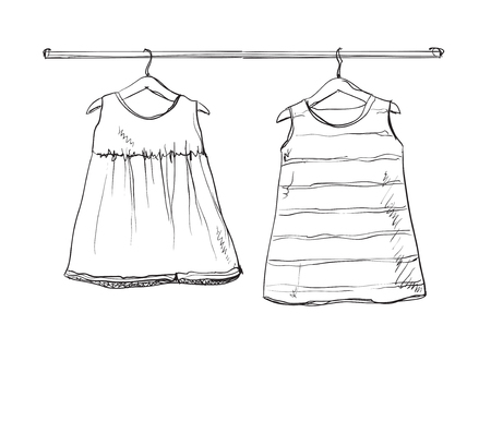 baby wardrobe: Baby dress vector sketch. Clothes on the hanger. Hand drawn wardrobe
