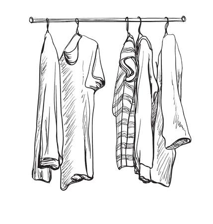 Croquis dibujado a mano armario. La ropa en las perchas. Foto de archivo - 62831022