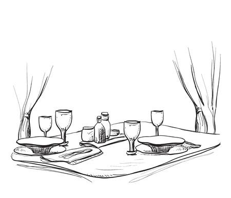 dinner date: Vector illustration of a romantic table for two. Dinner. Illustration