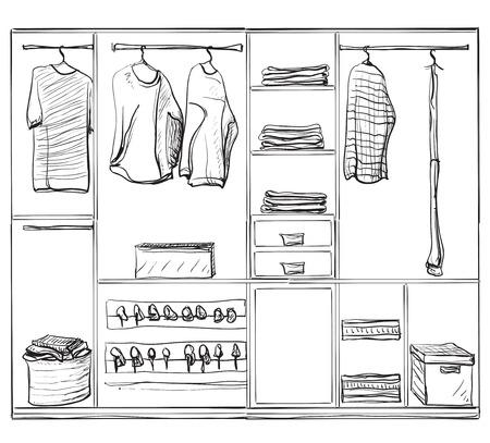 Kleiderschrank gezeichnet  Hand Gezeichnet Kleiderschrank Skizze. Kleidung Auf Den Bügeln ...