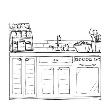 cosy: Kitchen interior drawing, vector illustration. Furniture sketch