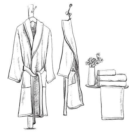 flower bath: Bath robe, robe for the shower, bathrobe, doodle style, sketch illustration, hand drawn vector