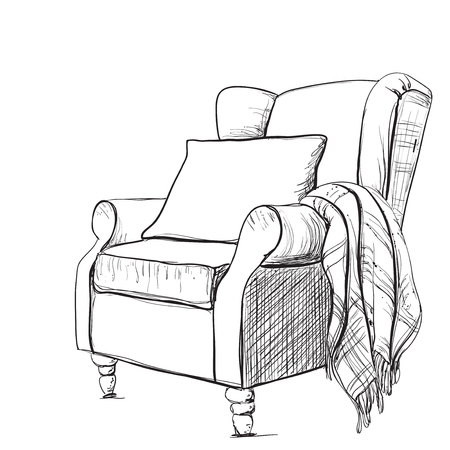 cozy: A cozy armchair and a warm blanket.  Relaxing atmosphere. Illustration