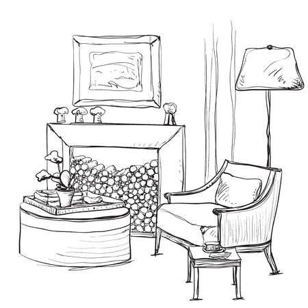 fireplace home: Home interior with armchair and fireplace. Relax Illustration